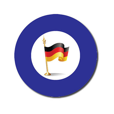 Customised German Flag Stickers - Blue (70 per sheet - 25mm)
