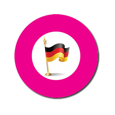 Customised German Flag Stickers - Pink (70 per sheet - 25mm)