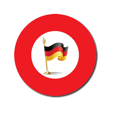 Customised German Flag Stickers - Red (70 per sheet - 25mm)