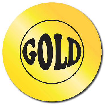 Customised Gold Metallic Stickers (35 per sheet - 37mm)