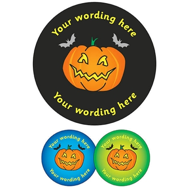 Customised Halloween Pumpkin Stickers (35 per sheet - 37mm)
