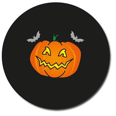 Customised Halloween Pumpkin Stickers - Black (35 per sheet - 37mm)