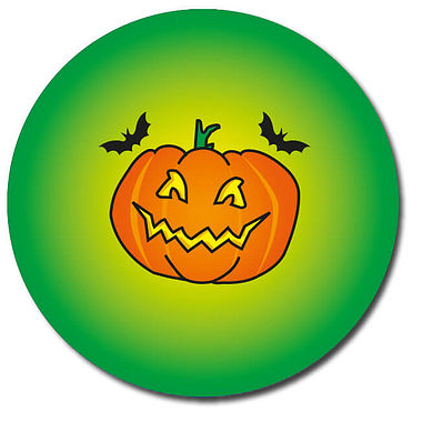 Customised Halloween Pumpkin Stickers - Green (35 per sheet - 37mm)