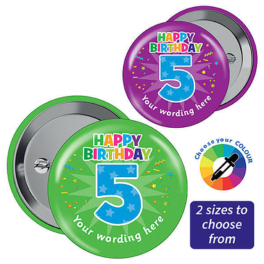Customised Happy 5th Birthday Badges (10 Badges)