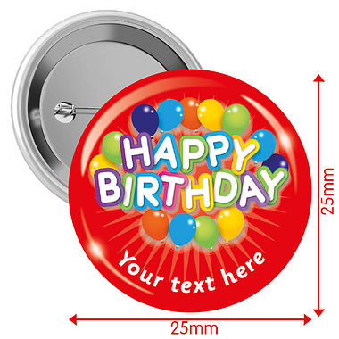 Customised Happy Birthday Balloons Badges - Red (10 Badges - 25mm)