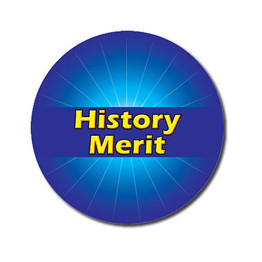 Customised History Merit Stickers - Blue (70 per sheet - 25mm)