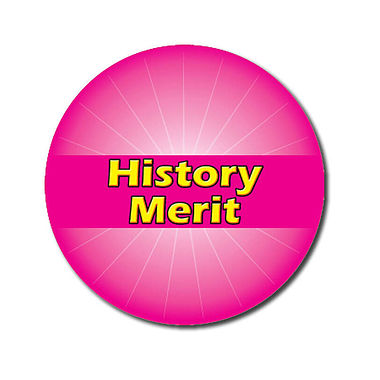 Customised History Merit Stickers - Pink (70 per sheet - 25mm)
