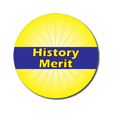 Customised History Merit Stickers - Yellow (70 per sheet - 25mm)