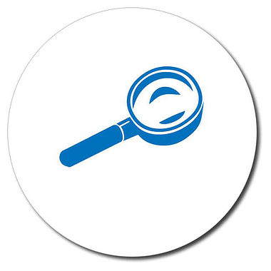 Customised Magnifying Glass Stamper - Blue (25mm)