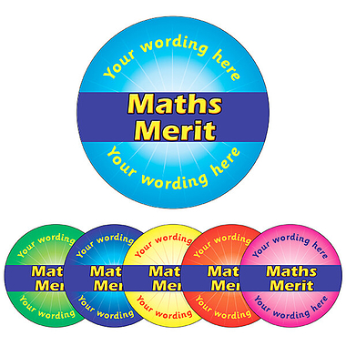 Customised Maths Merit Stickers (70 per sheet - 25mm)