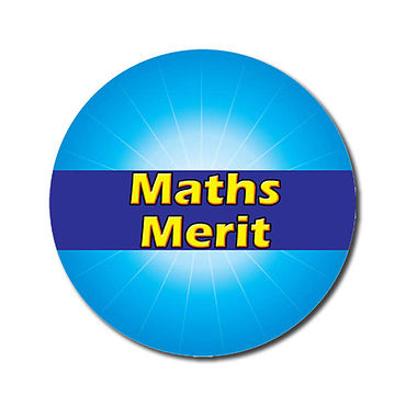 Customised Maths Merit Stickers - Cyan (70 per sheet - 25mm)