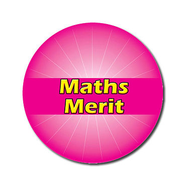 Customised Maths Merit Stickers - Pink (70 per sheet - 25mm)