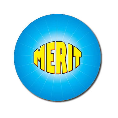 Customised Merit Stickers - Cyan (70 per sheet - 25mm)