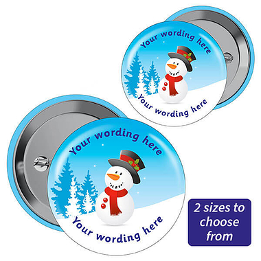 Customised Merry Christmas Snowman Badges