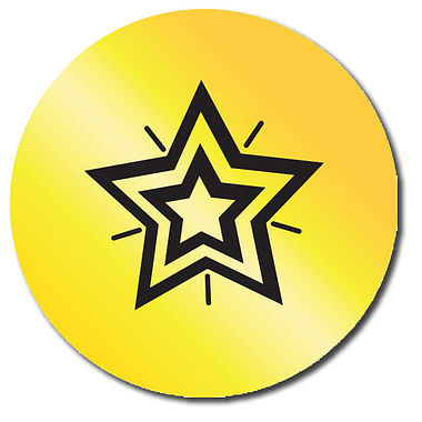Customised Metallic Gold Star Stickers (35 per sheet - 37mm)