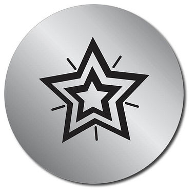 Customised Metallic Silver Star Stickers (35 per sheet - 37mm)