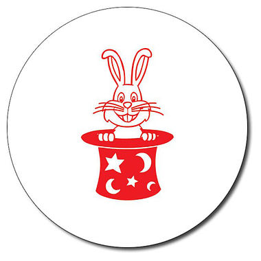 Customised Rabbit in a Hat Stamper - Red Ink (25mm)