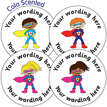 Customised SCENTED Super Hero Stickers - Cola (35 per sheet - 37mm)