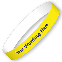 Customised School Trip Wristbands - SET OF 5 -  Yellow (15mm x 220mm)