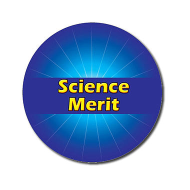 Customised Science Merit Stickers - Blue (70 per sheet - 25mm)