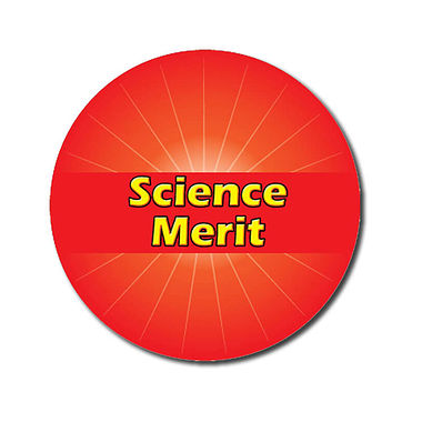 Customised Science Merit Stickers - Red (70 per sheet - 25mm)