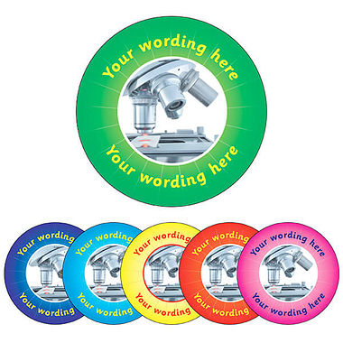 Customised Science Stickers (70 per sheet - 25mm)