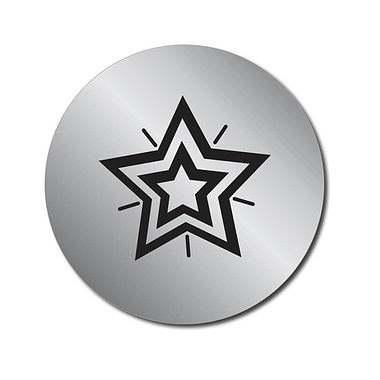 Customised Silver Metallic Star Stickers (70 per sheet - 25mm)