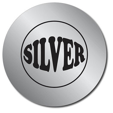 Customised Silver Metallic Stickers (35 per sheet - 37mm)