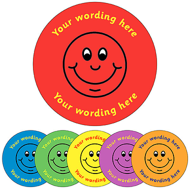 Customised Smile Stickers (35 per sheet - 37mm)