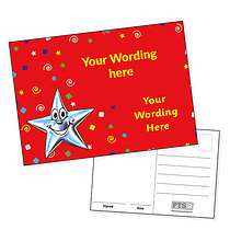 Customised Smiley Star Postcard (A6 in size)