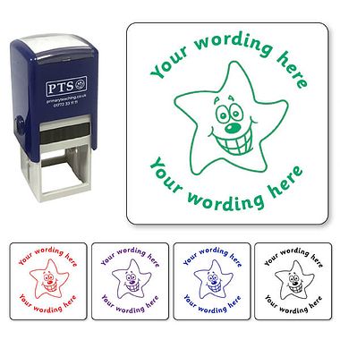 Customised Smiley Star Stamper Available in 5 colours (25mm)