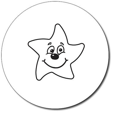 Customised Smiley Star Stamper - Black (25mm)