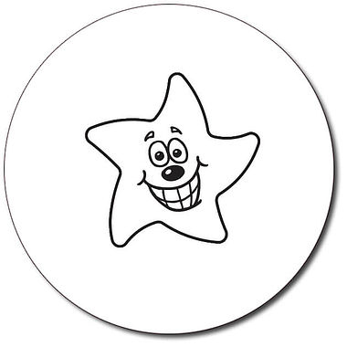 Customised Smiley Star Stamper - Black Ink (25mm)