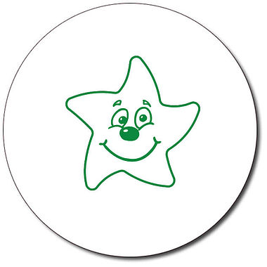 Customised Smiley Star Stamper - Green (25mm)