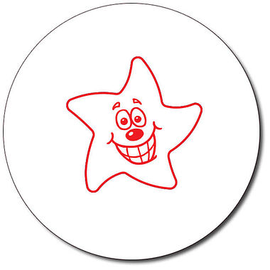 Customised Smiley Star Stamper - Red Ink (25mm)