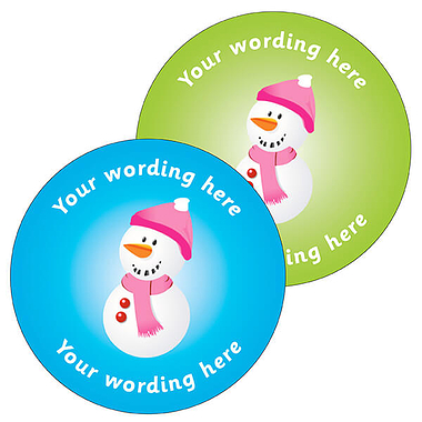 Customised Snowman Stickers (35 per sheet - 37mm)