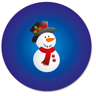 Customised Snowman Stickers - Blue (35 per sheet - 37mm)