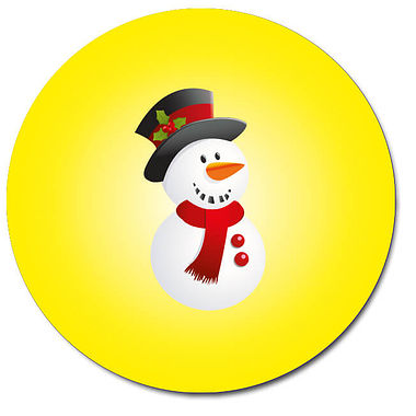 Customised Snowman Stickers - Yellow (35 per sheet - 37mm)