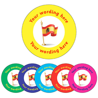 Customised Spanish Flag Stickers (70 per sheet - 25mm)