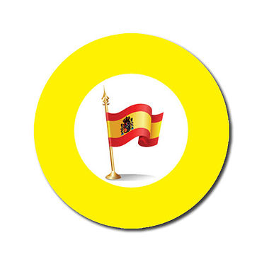 Customised Spanish Flag Stickers - Yellow (70 per sheet - 25mm)