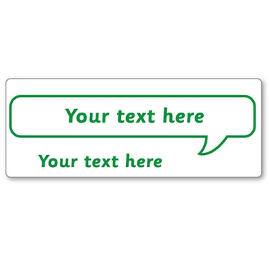 Customised Speech Bubble Stamper - Green Ink (59mm x 21mm)