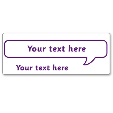 Customised Speech Bubble Stamper - Purple Ink (59mm x 21mm)