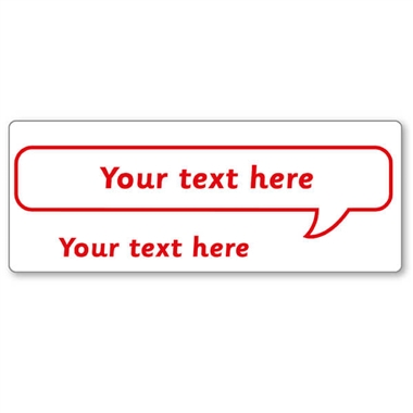 Customised Speech Bubble Stamper - Red Ink (59mm x 21mm)