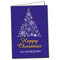 Customised Star & Snowflakes Christmas Tree Greetings Card (A5)