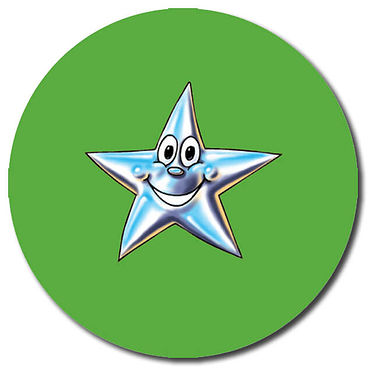Customised Star Stickers - Green (35 per sheet - 37mm)