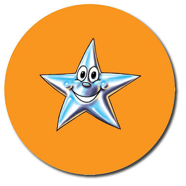 Customised Star Stickers - Orange (35 per sheet - 37mm)