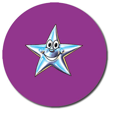 Customised Star Stickers - Purple (35 per sheet - 37mm)
