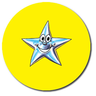 Customised Star Stickers - Yellow (35 per sheet - 37mm)