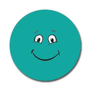 Customised Teal Face Stickers (70 per sheet - 25mm)