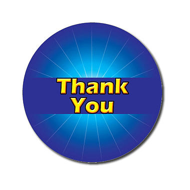 Customised Thank You Stickers - Blue (70 per sheet - 25mm